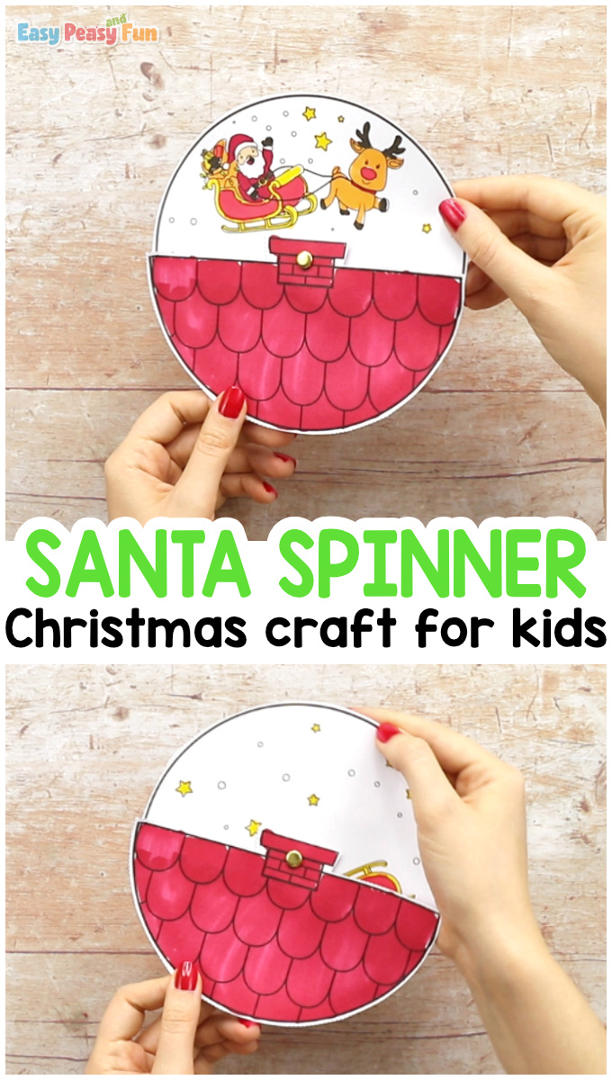 Santa Spinner Christmas Craft for Kids