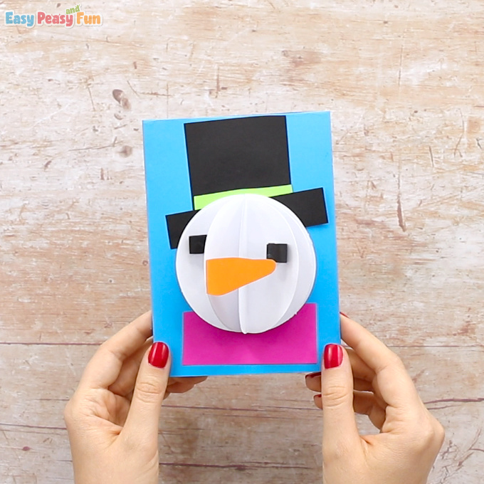 3D Paper Snowman Craft Idea