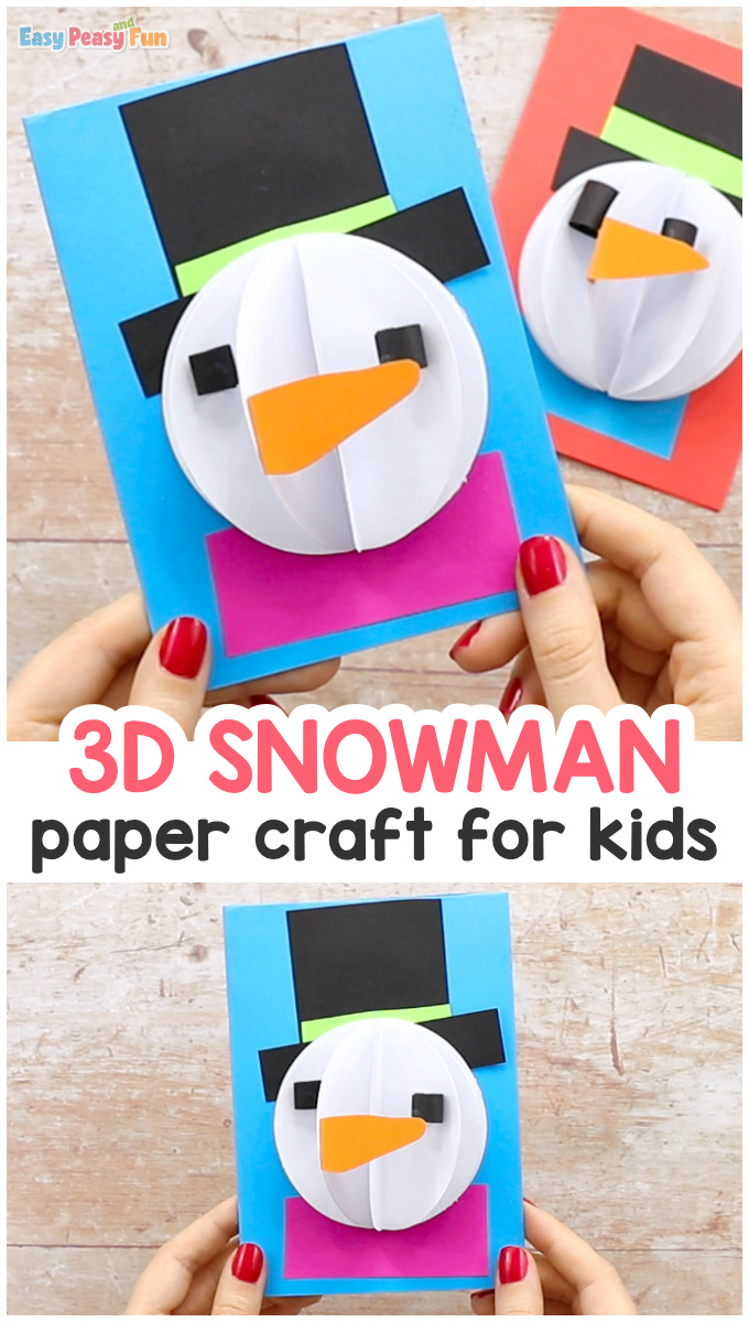 3D Paper Snowman Craft for Kids