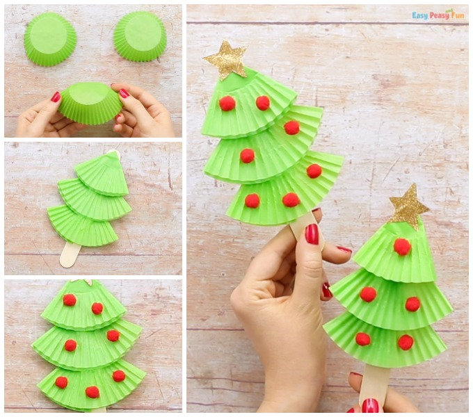 Cupcake Liners Christmas Tree Craft Idea