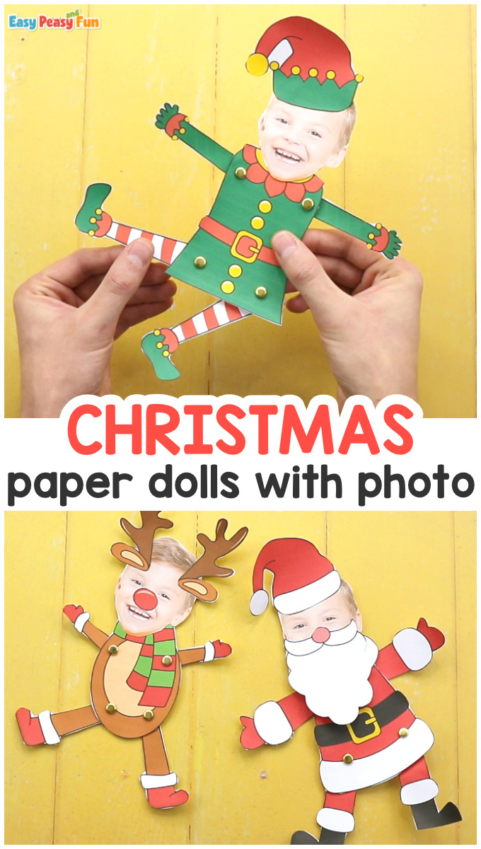 Paper Doll Christmas Photo Craft Idea for Kids