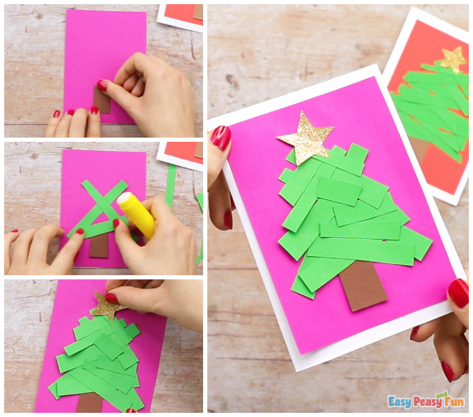 Paper Strips Tree Christmas Card DIY