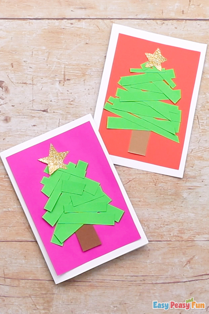 Paper Strips Tree Christmas Card Idea