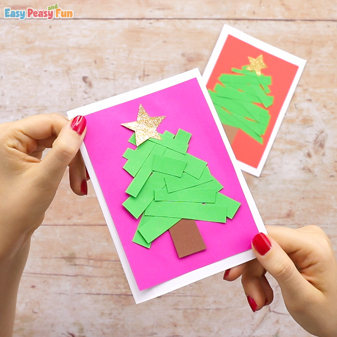 Paper Strips Tree Christmas Card