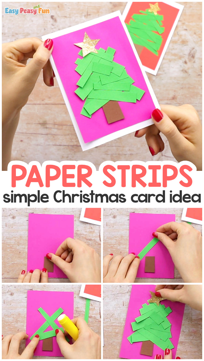 Paper Strips Tree Christmas Card for Kids