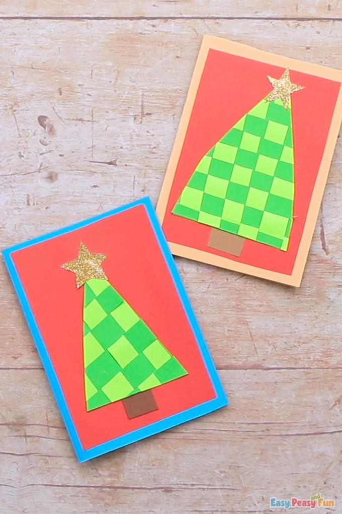 Papierweben-Weihnachtsbaum-Karten-Idee
