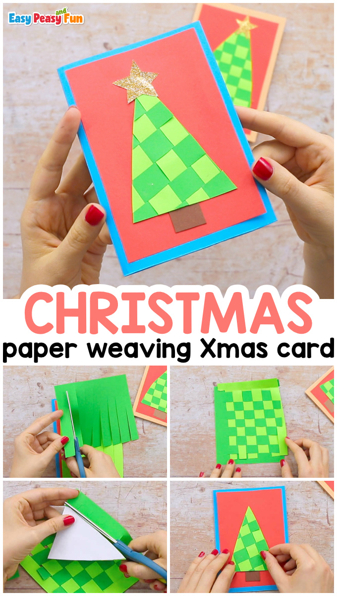 Paper Weaving Christmas Tree Card for Kids