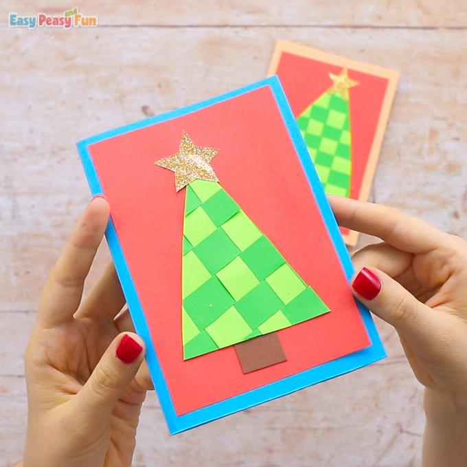 Papierweben Weihnachtsbaumkarte