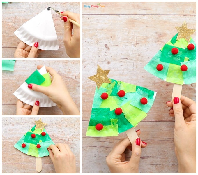 Tissue Paper Christmas Tree Craft for Kids