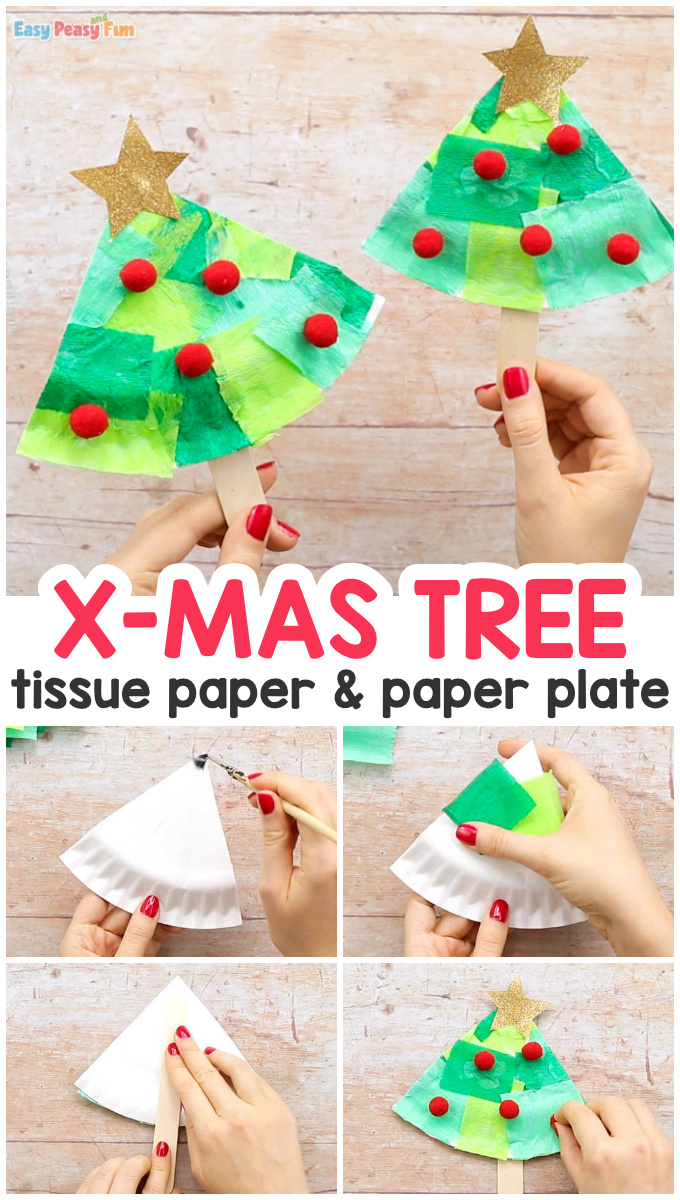Tissue Paper Christmas Tree Paper Plate Craft for Kids
