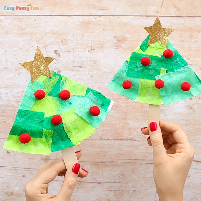Tissue Paper Christmas Tree Paper Plate Craft