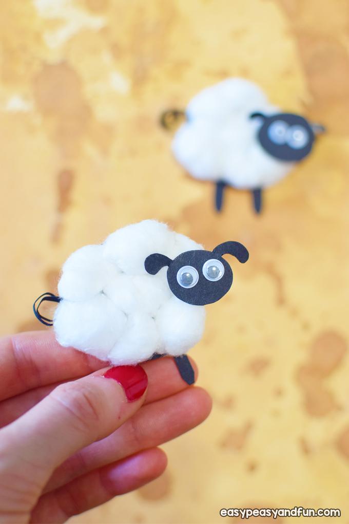 Cotton Ball Sheep Craft for Kids