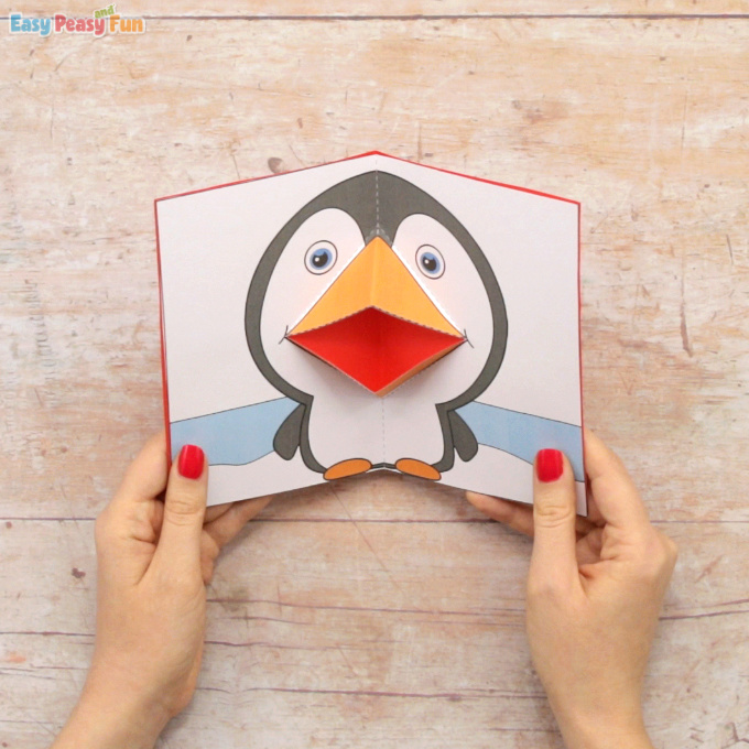 Penguin Pop Up Card Template Easy Peasy And Fun