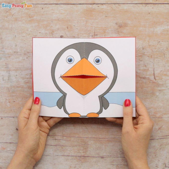 Penguin Pop Up Card Template