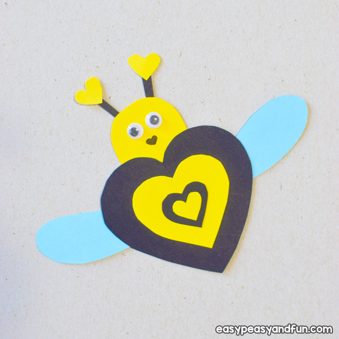 Valentine Day Bee Paper Craft for Kids