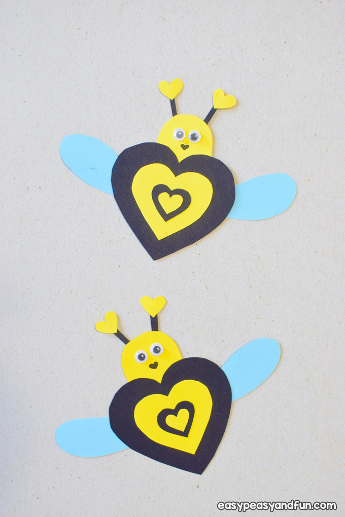 Valentine Bee Paper Craft for Kids