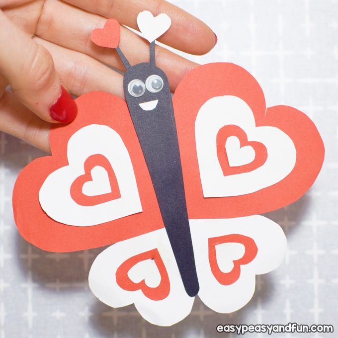 Butterfly Valentines Day Paper Craft for Kids to Make