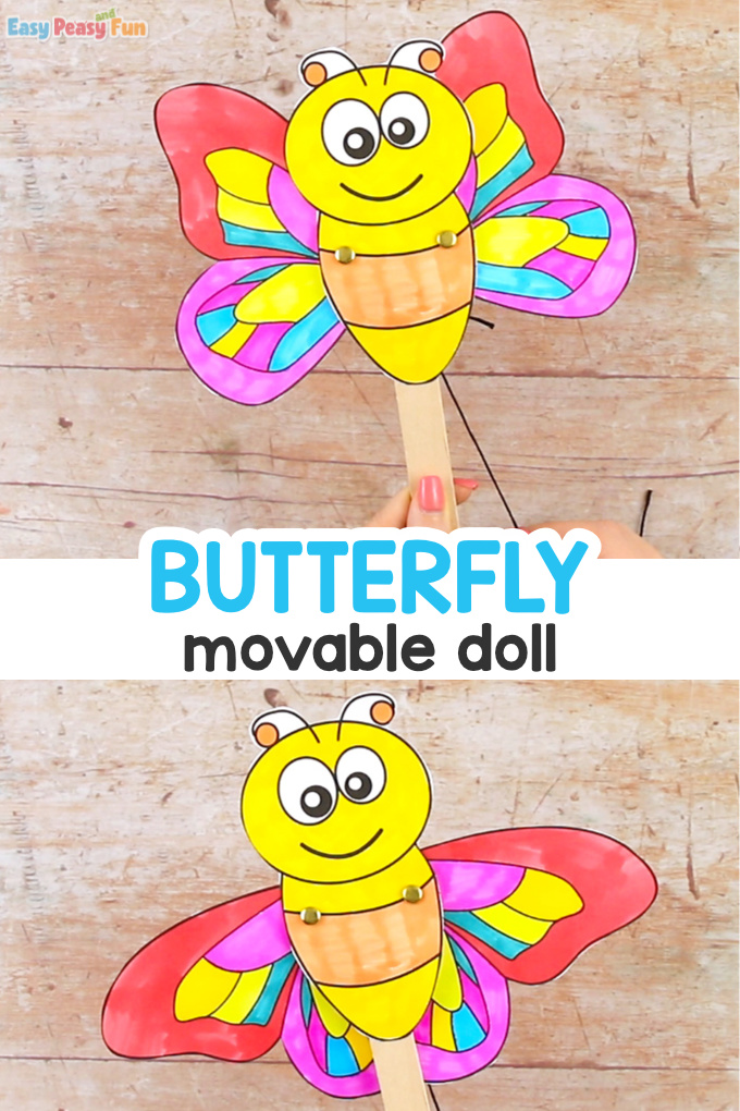 Movable Butterfly Doll Template Craft for Kids