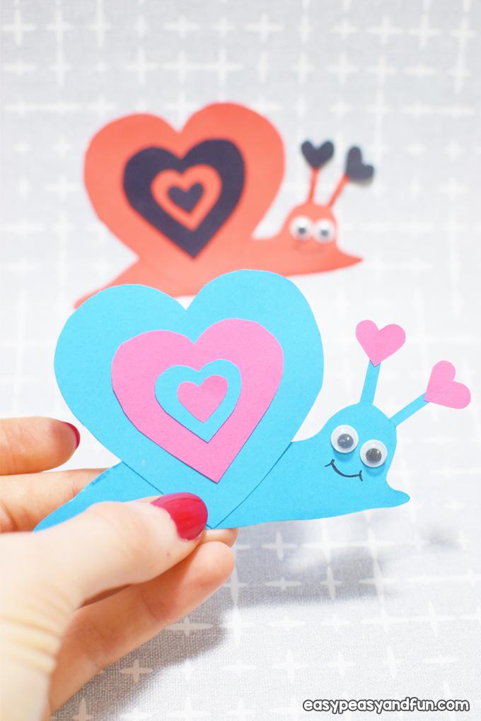 Schnecke Valentinstag Handwerk für Kinder