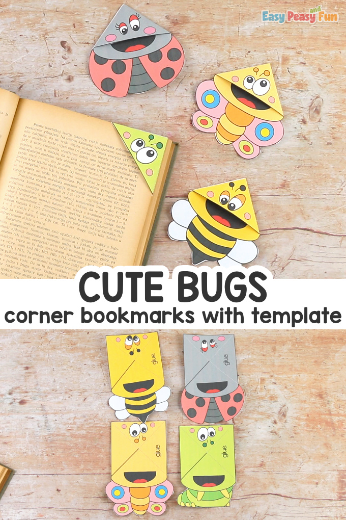 Bugs Corner Bookmarks with Template Craft for Kids