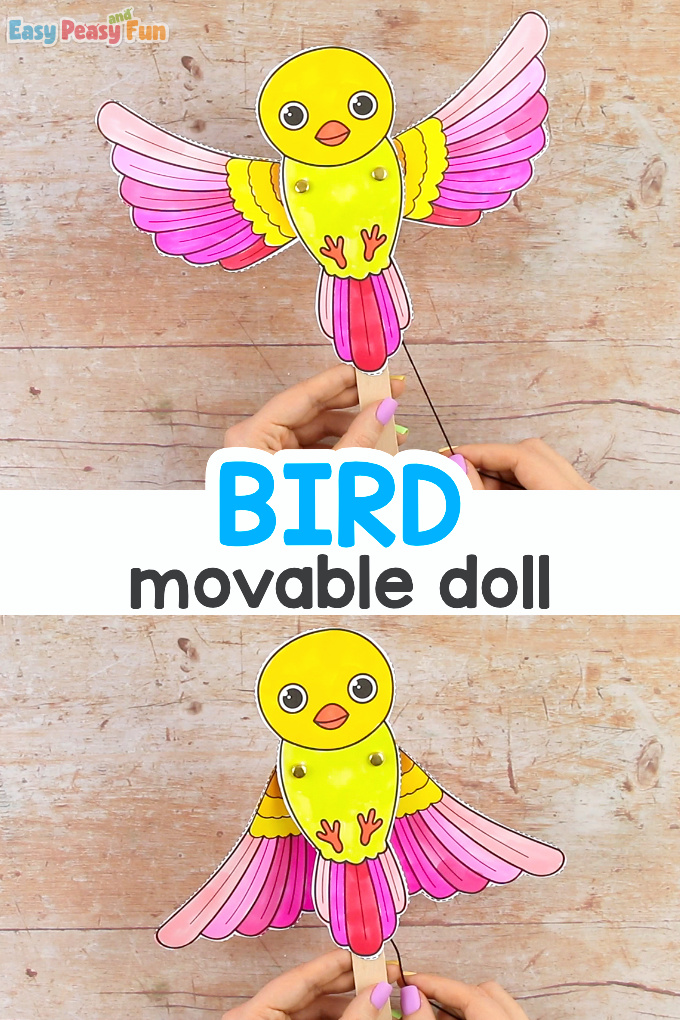 Movable Bird Paper Doll Paper Craft for KidsMovable Bird Paper Doll Paper Craft for Kids