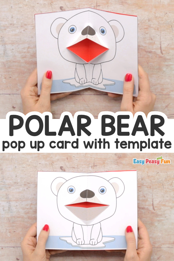 Polar Bear Pop Up Card with Printable Template