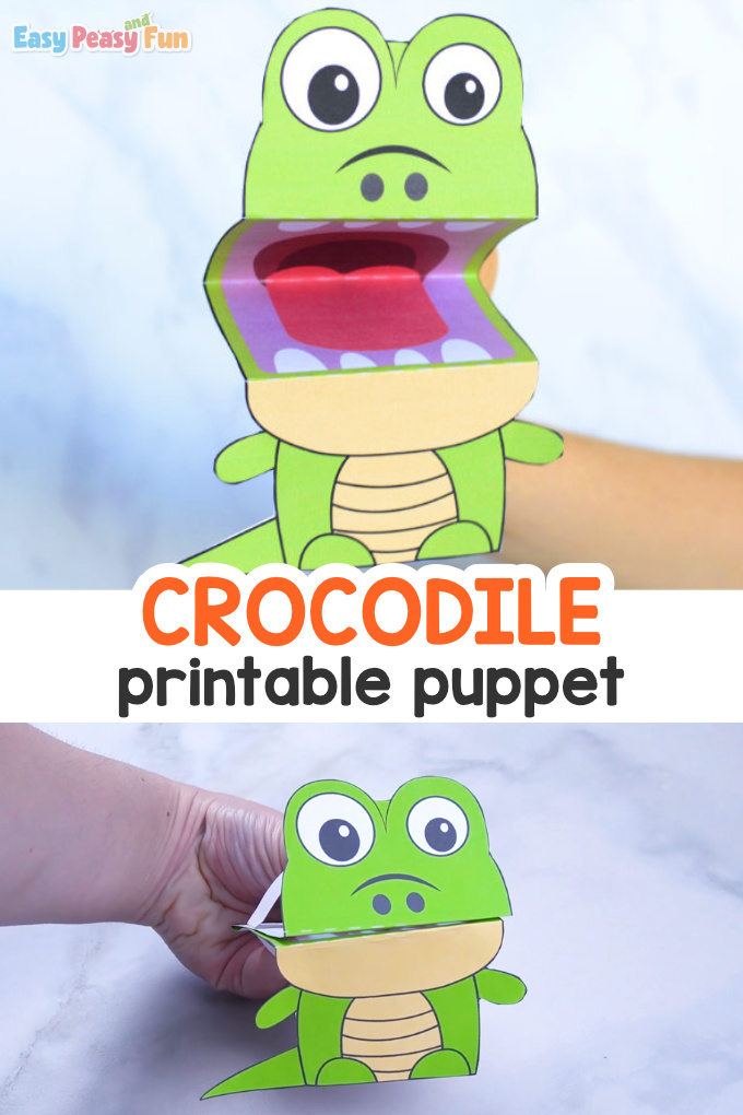 Printable Crocodile Puppet - paper craft for kids