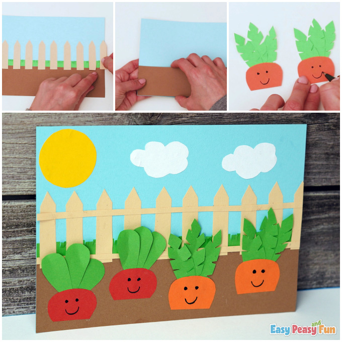 Carrot and Radish Garden Craft Idea