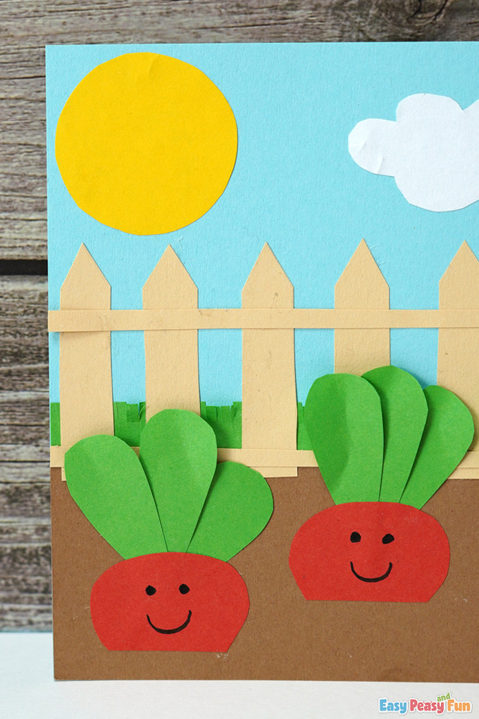 Making a paper garden craft with radishes