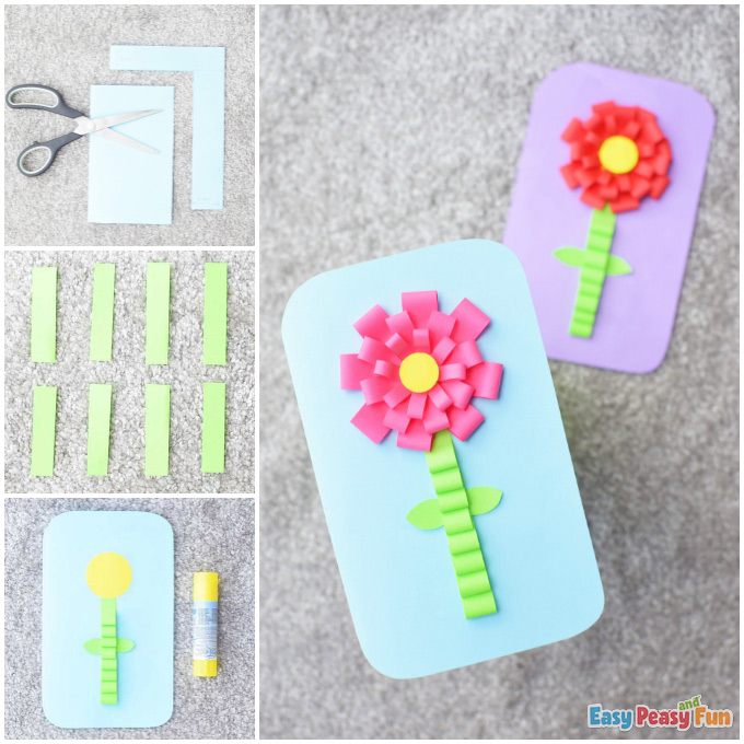 Mothers Day Flower Card Craft Idea