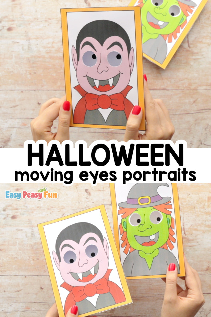 Moving Eyes Portraits Halloween Craft for Kids