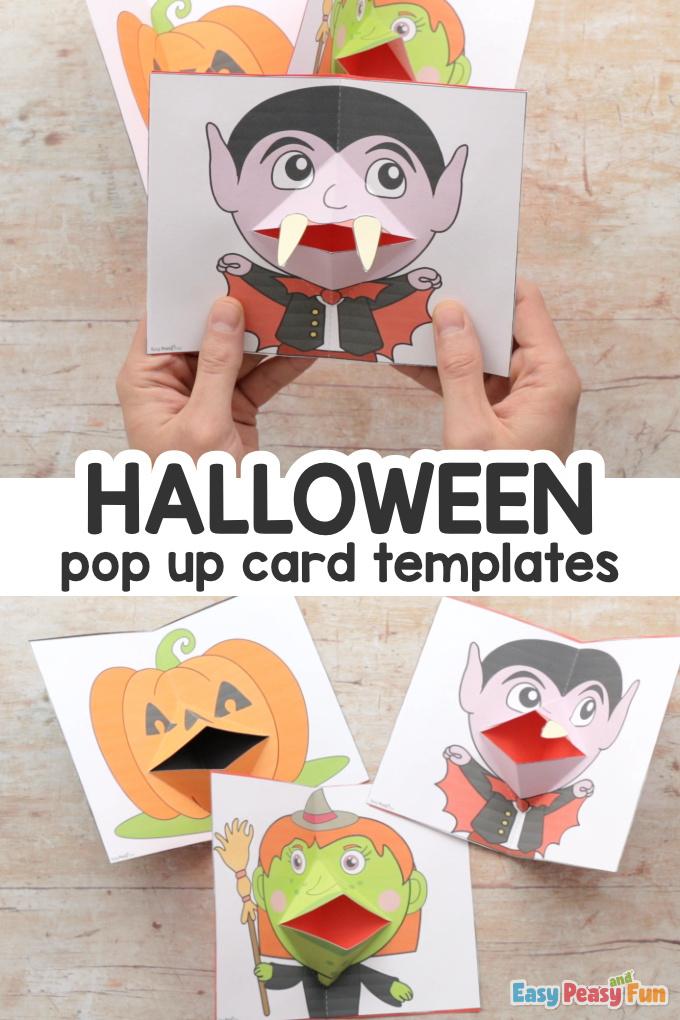 Halloween Pop Up Kartenvorlagen - Machen Sie eine Hexe, einen Vampir und einen Kürbis