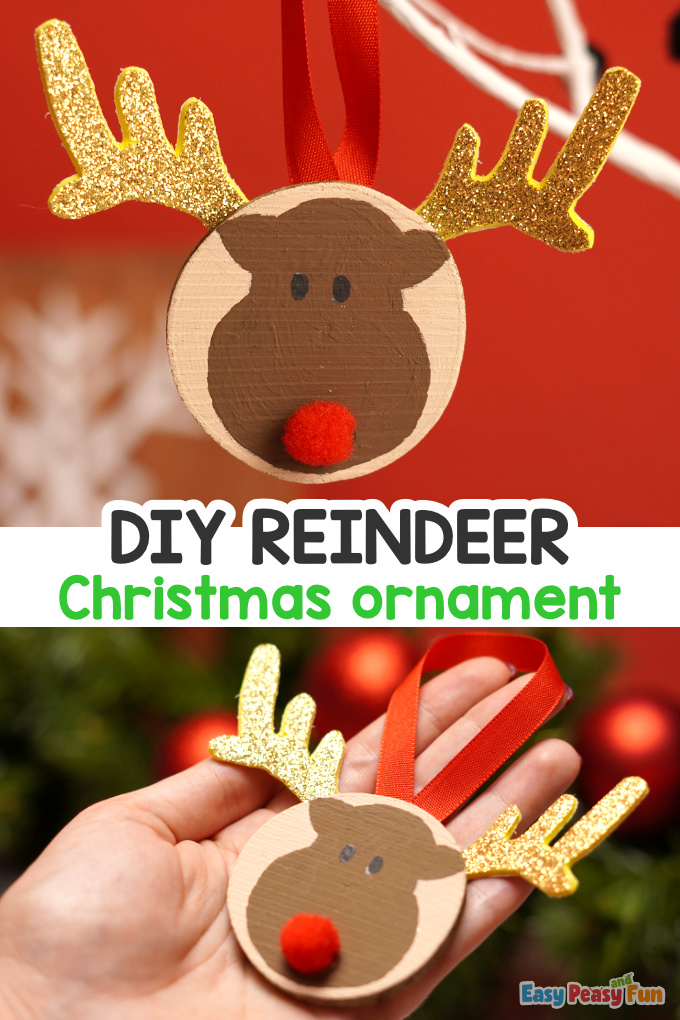 Reindeer Wooden Slice Christmas Ornament Idea
