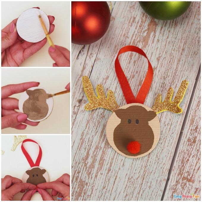 Reindeer Wooden Slice Ornaments Craft Idea