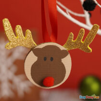 Reindeer Wooden Slice Ornaments