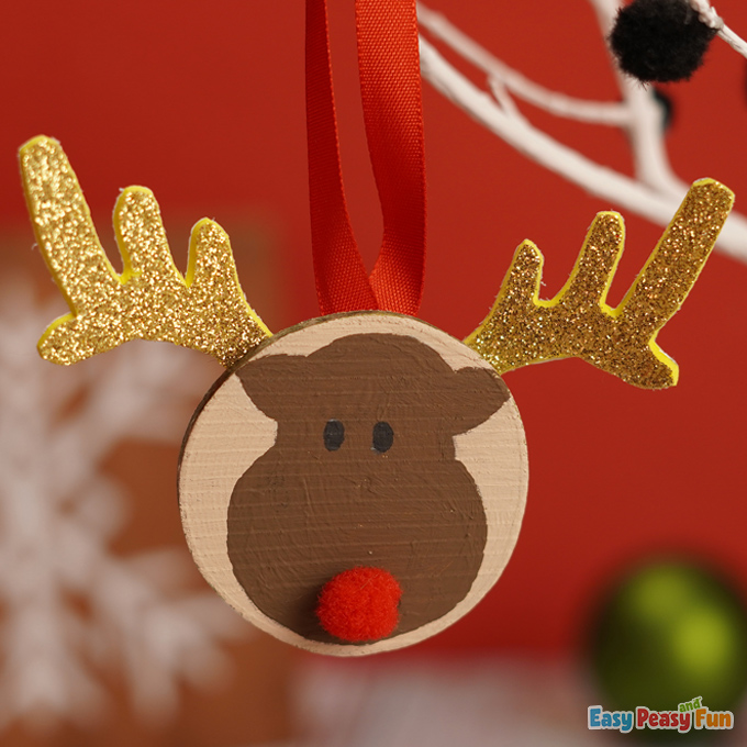 Reindeer Wooden Slice Ornaments for Kids