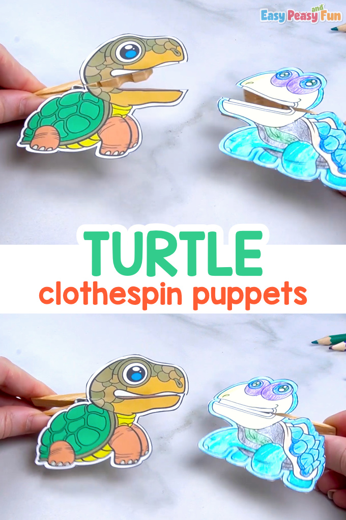 Turtle Clothespin Puppets Printable Templates