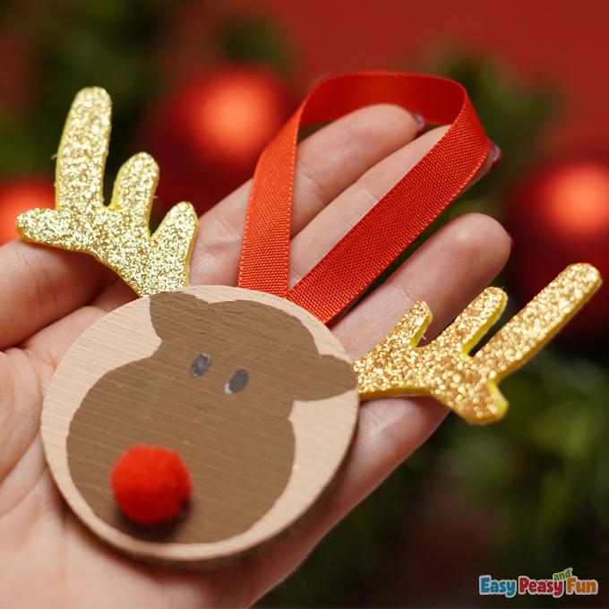 Xmas Reindeer Wooden Slice Ornaments