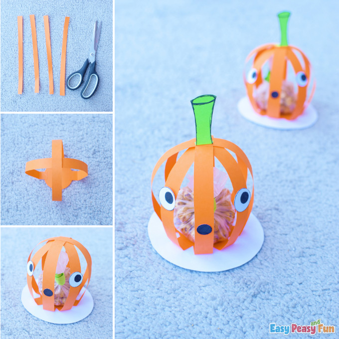 3D Paper Halloween Pumpkin Craft Idea