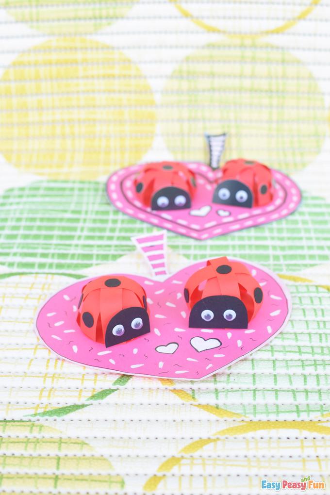 3D V-Day Paper Ladybug Craft