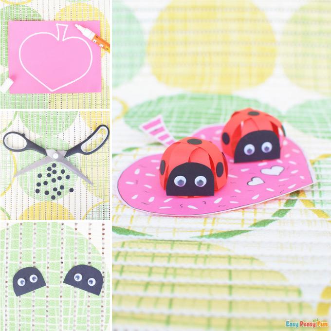 3D Valentines Day Paper Ladybug Craft Idea