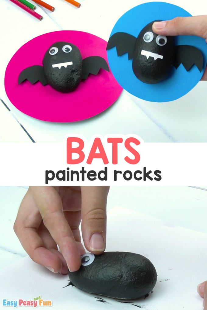 Bats Painted Rocks Craft