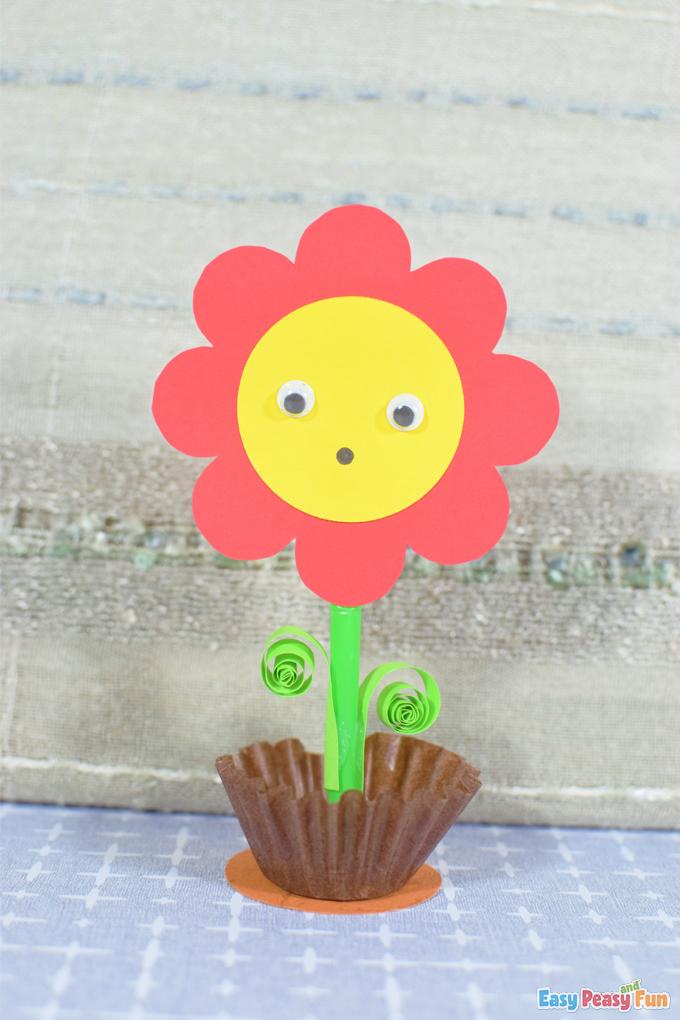 DIY Spring Paper Flower in a Pot Craft