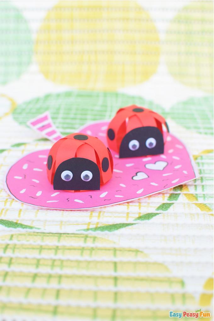 DIY Valentines Day 3D Paper Ladybug