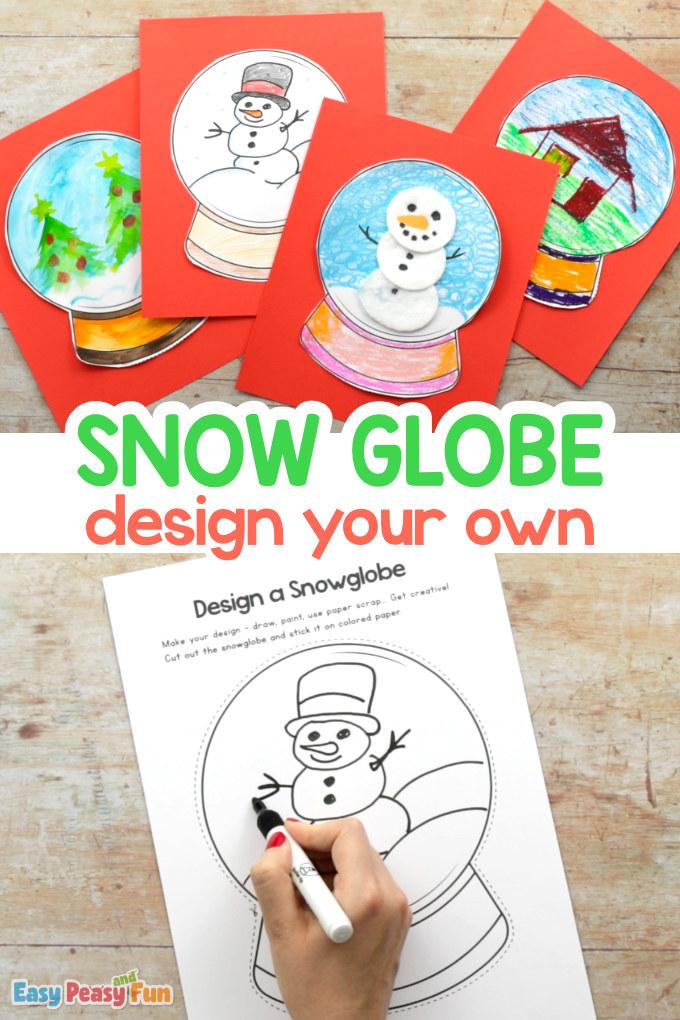 Entwerfen Sie eine Schneekugel-Vorlage Handwerk für Kinder