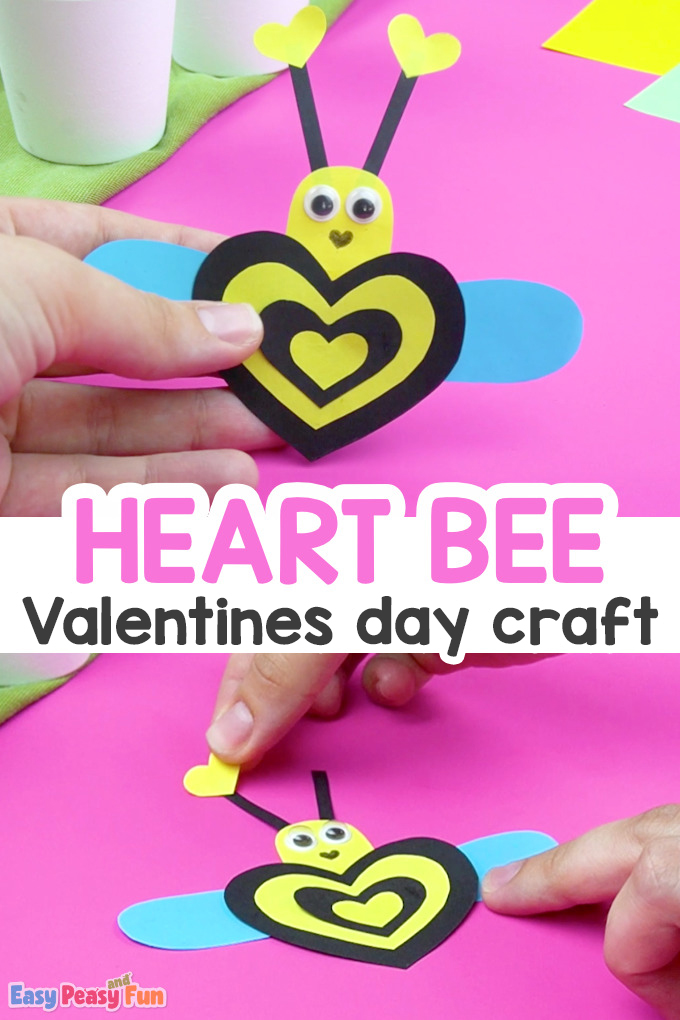 Heart Bee Valentines Day Craft for Kids