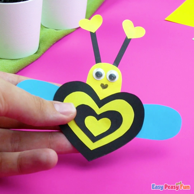 Heart Bee Valentines Day Craft