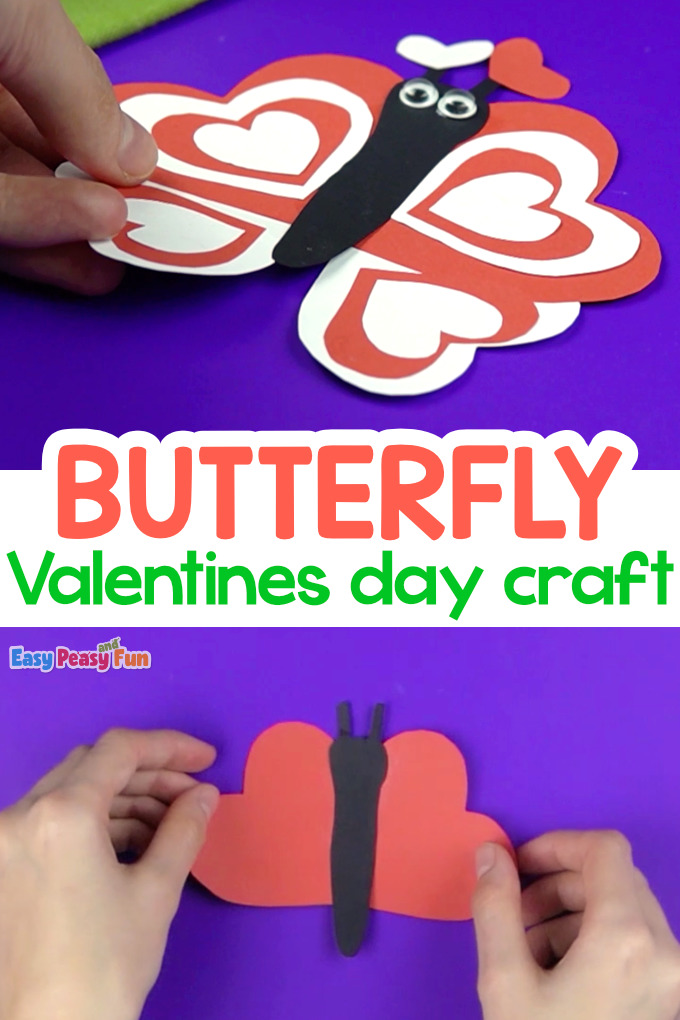 Paper Butterfly Valentines Day Craft for Kids