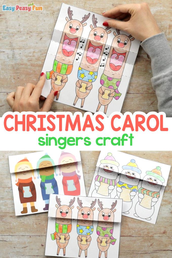 Druckbare Weihnachtsgeschichte Carol Singers Craft für Kinder