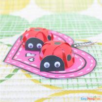 Paper Strips Ladybug Valentines Day Craft